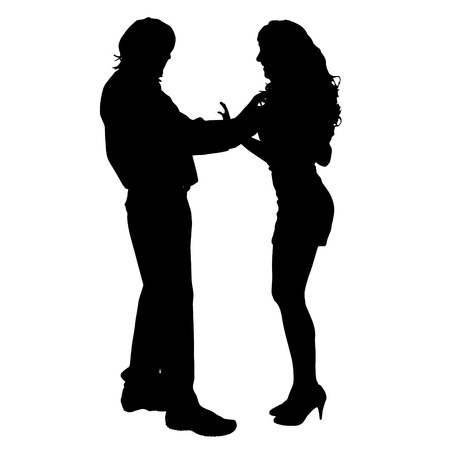 sexy image: Vector silhouette of a couple on a white background.