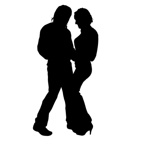 nice guy: Vector silhouette of a couple on a white background.