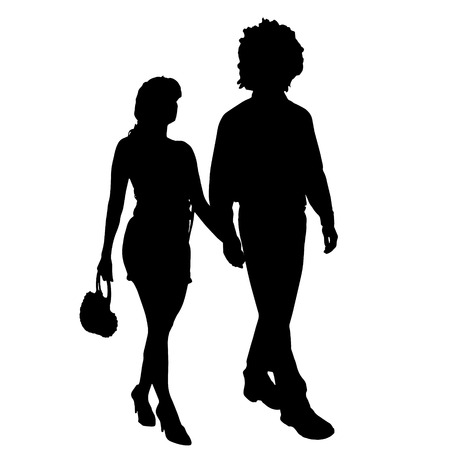 sexy black woman: Vector silhouette of a couple on a white background.