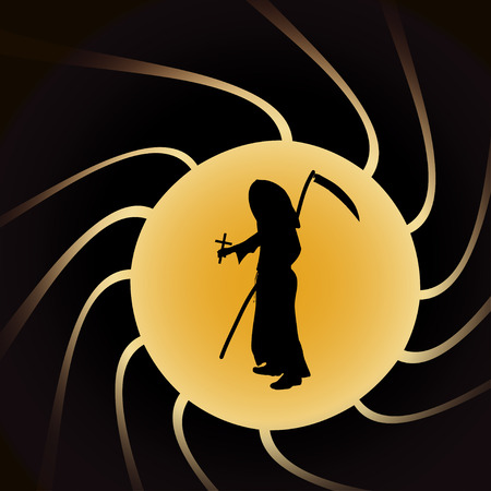 mortal danger: Vector illustration of Grim Reaper on a yellow background.