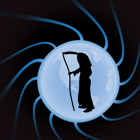 end of the world: Vector illustration of Grim Reaper on a black background.