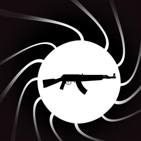 holster: Vector illustration of weapons on the black background. Illustration