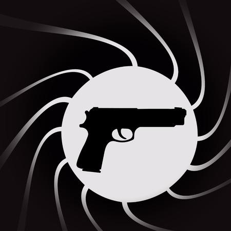 Vektor-Illustration von Waffen auf dem schwarzen Hintergrund.