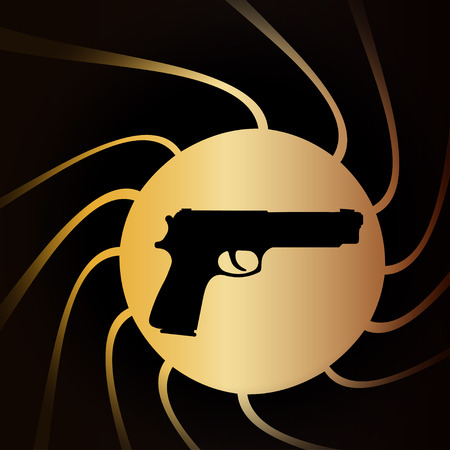 Vector illustration of weapons on the black background.