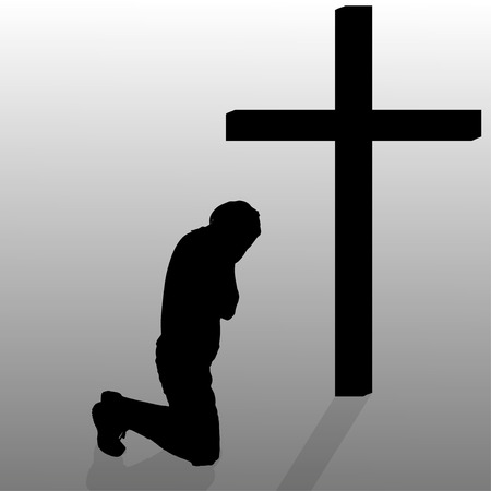 christian prayer: Vector silhouette of a man who kneels in front of a cross.