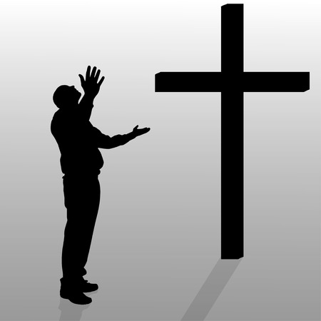 fanaticism: Vector silhouette of a man who stay in front of a cross.