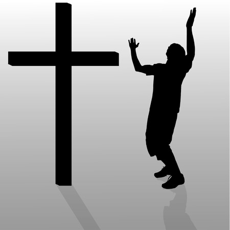 hopelessness: Vector silhouette of a man who stay in front of a cross.