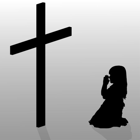 christian young: Vector silhouette of a girl who kneels in front of a cross. Illustration