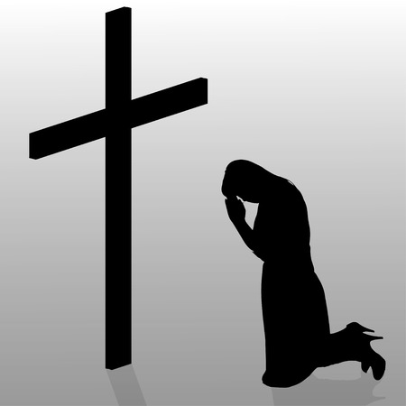 christian young: Vector silhouette of a woman who kneels in front of a cross. Illustration