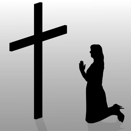 fanaticism: Vector silhouette of a woman who kneels in front of a cross. Illustration