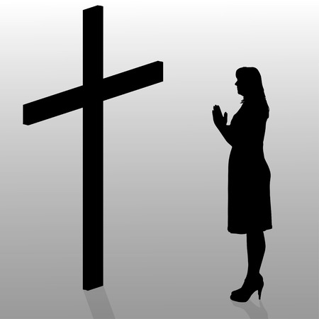 christian young: Vector silhouette of a woman who stay in front of a cross. Illustration
