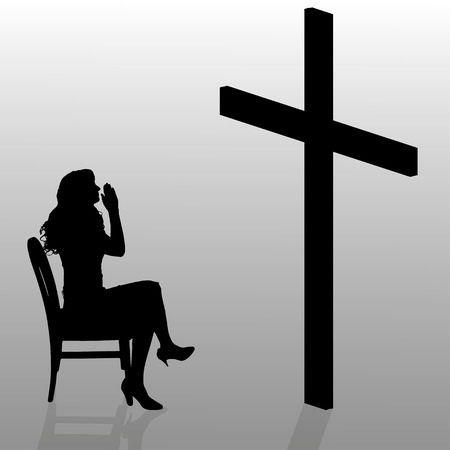 hopeless: Vector silhouette of a woman who sits in front of a cross.