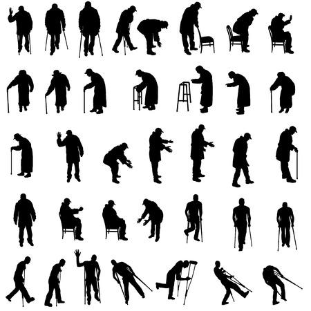 vecchiaia: Vector silhouette di anziani su sfondo bianco.