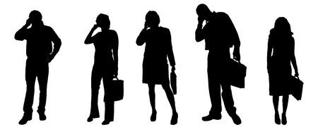 Vector silhouetten van verschillende mensen op een grijze achtergrond.