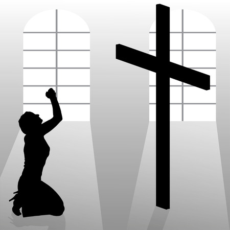 Vector silhouette of a woman who prays in church. Vector