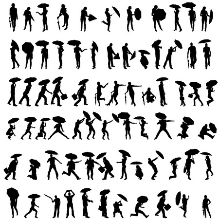 black male: Vector silhouettes of people with umbrellas on white background.