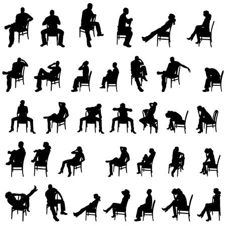 cadeira: Vector silhuetas de pessoas que se sentam no fundo branco.