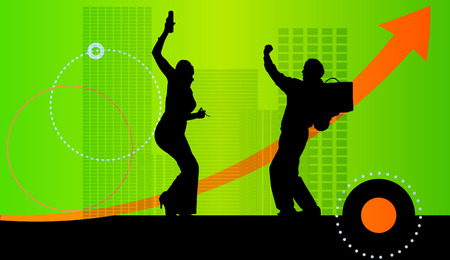 Vector illustration with silhouettes of people on green background. Vector