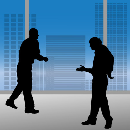 busy city: Vector silhouettes of people in the office.