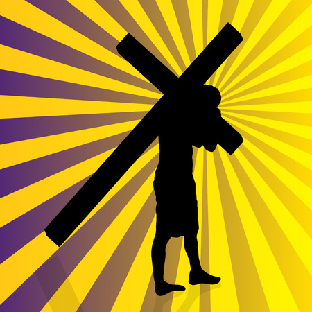 Vector illustration of Jesus with the cross. Vector