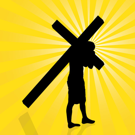 evangelical: Vector illustration of Jesus with the cross.