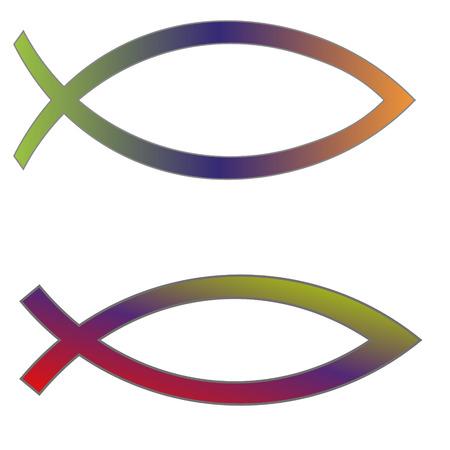 pez cristiano: Ilustraci�n vectorial s�mbolo cristiano de los pescados en el fondo blanco. Vectores