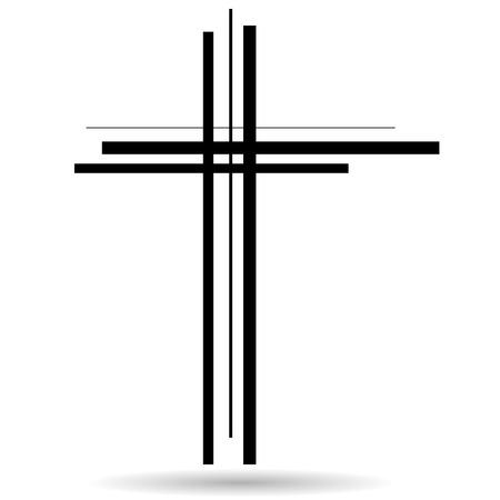 Vector illustratie van een kruis op een witte achtergrond.