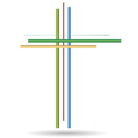 pasqua cristiana: Illustrazione vettoriale di una croce su uno sfondo bianco.