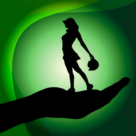 Vector silhouette of a woman on palm on white background. Vector