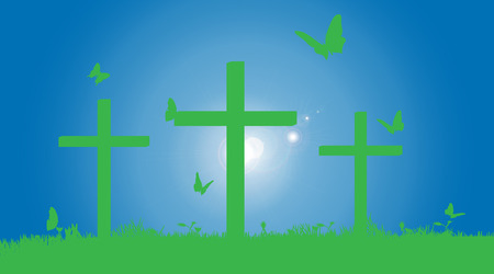carrying the cross: Vector silhouette of the cross in nature.