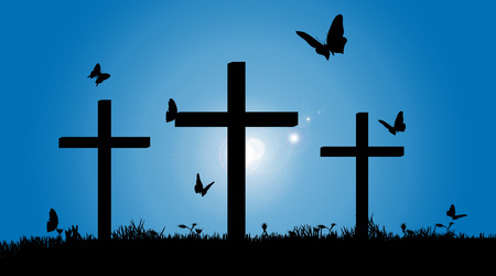 Vector silhouette of the cross in nature.