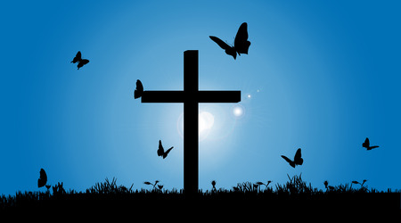 cross vector: Vector silhouette of the cross in nature.