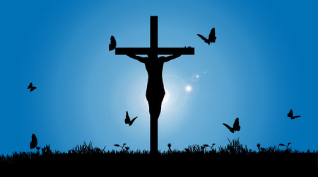 carrying the cross: Vector silhouette of Jesus on the cross. Illustration