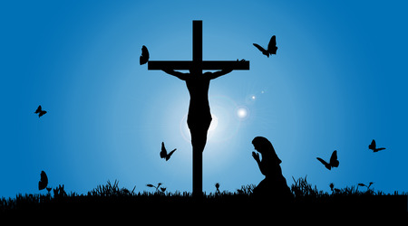 Vector silhouette of Jesus on the cross. Illustration
