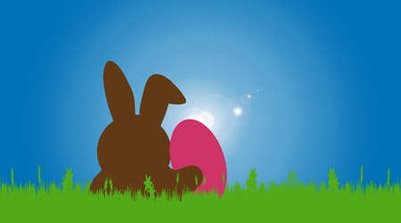 Vector illustration with Easter theme with hare. Vector