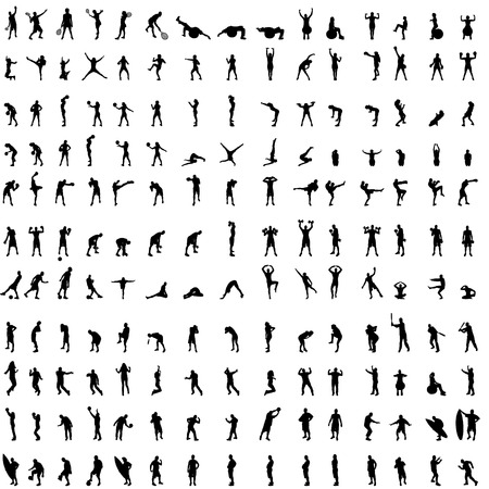 Vector silhouette of people who exercise on white background. Vector