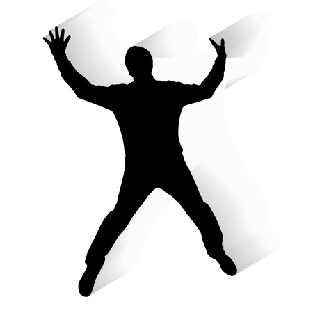 Vector silhouette of a man who jumps on a white background. Vector