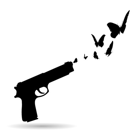 gun shot: Vector silhouette of a gun that shoots butterflies.