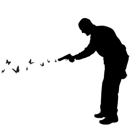 Vector silhouette of a man who shoots butterflies. Vector