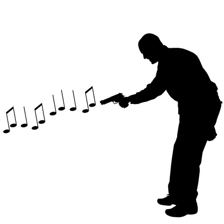 shoots: Vector silhouette of a man who shoots notes. Illustration