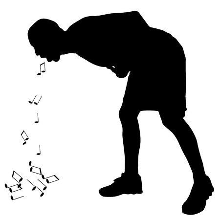 throw up: Vector silhouette of a man who vomits notes.