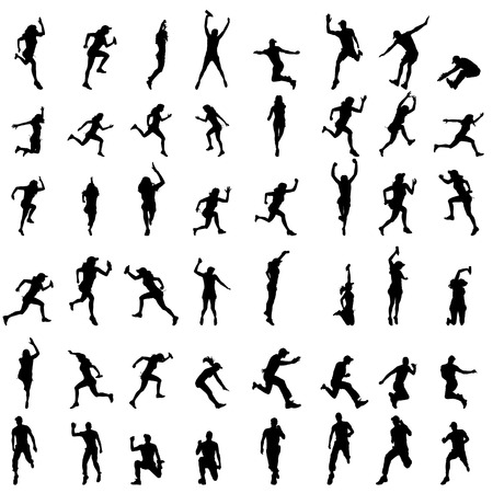 Vector silhouette of people who run on a white background.