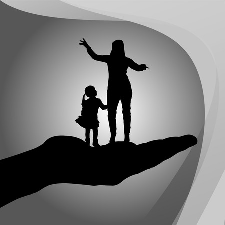 life guard: Vector silhouette of a family on palm on white background. Illustration