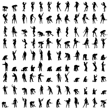 drill: Vector silhouette of a people who is a worker and has the tools.