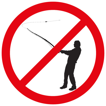 nice guy: Vector illustration of a prohibition of fishing.
