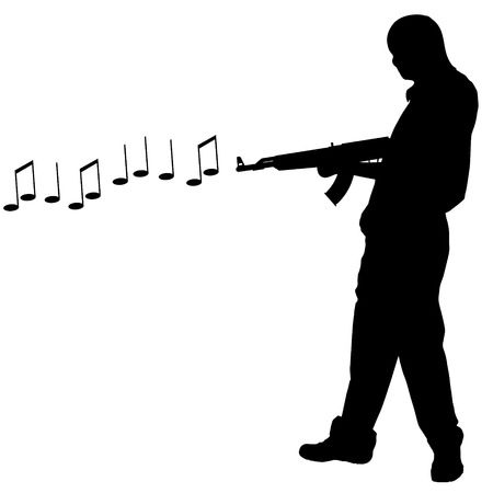 Vector silhouette of a man who shoots notes. Vector