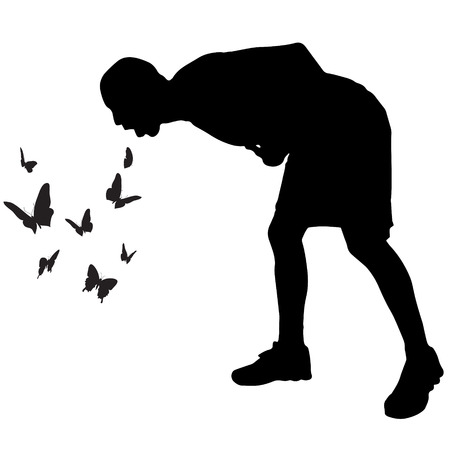 nausea: Vector silhouette of a man who vomits butterflies. Illustration