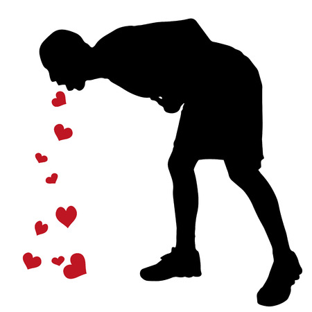Vector silhouette of a man who vomits hearts.
