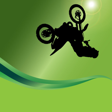 Vector silhouette of a motorcycle on a green background. Vector