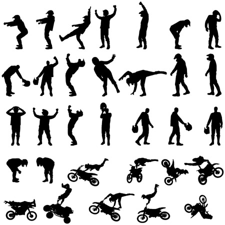 jumps: Vector silhouette of a motorcycle on a white background. Illustration